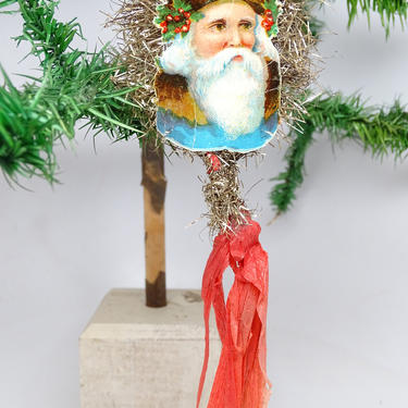 Early 1900's German Victorian Die Cut and Tinsel Belsnickel Santa Scrap Ornament with Red Crepe Paper Streamers by exploremag