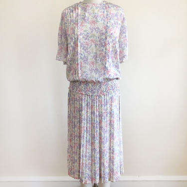 Floral Print Matching Blouse and Pleated Skirt Set - 1980s by LogansClothing