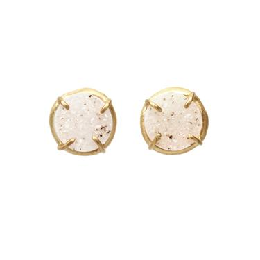 Prong Set Druzy Studs - Off White Speckle