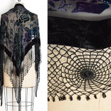 vintage 90s piano shawl Chicos black silk rayon burnout velvet spiderweb crochet wrap top flapper clothing by huncamuncavintage