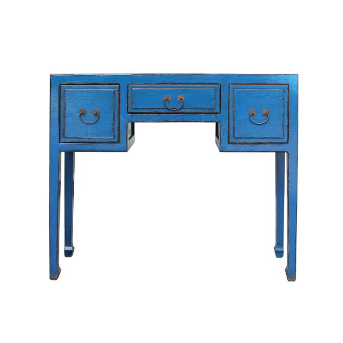 Chinese Distressed Bright Blue Lacquer 3 Drawers Table Desk cs5455S