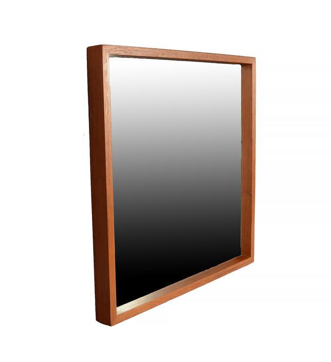 Teak Mirror Square Frame Danish Modern by HearthsideHome