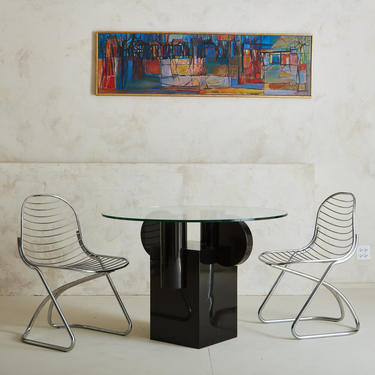 Black Lacquered Base & Glass Top Dining Table in the style of Ettore Sottsass
