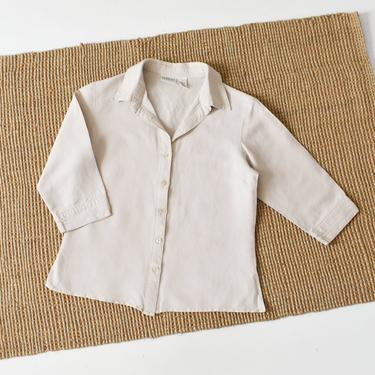 vintage beige button down shirt, minimal 90s top, size S by ImprovGoods