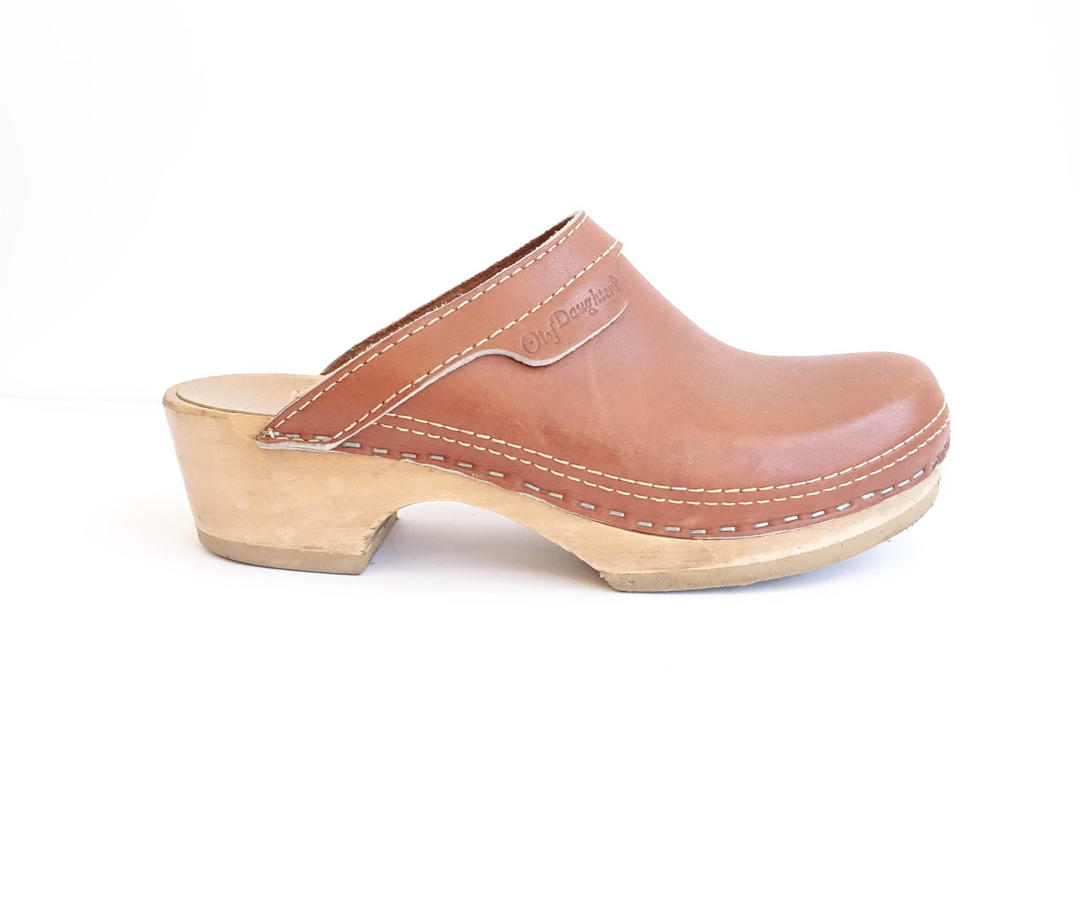 a9538bea2d133 Vintage Caramel Brown Clogs/ Leather + Wood Slip On Clogs/ Olof Daughters  Swedish/ Size 7 37 by bottleofbread from Bottle of Bread of Baltimore, MD