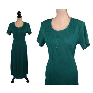 90s Grunge Dark Green Crinkle Dress Small, Short Sleeve Midi Maxi, Tie Back Embroidered Scoop Neck, 1990s Clothes Women Vintage Clothing by MagpieandOtis