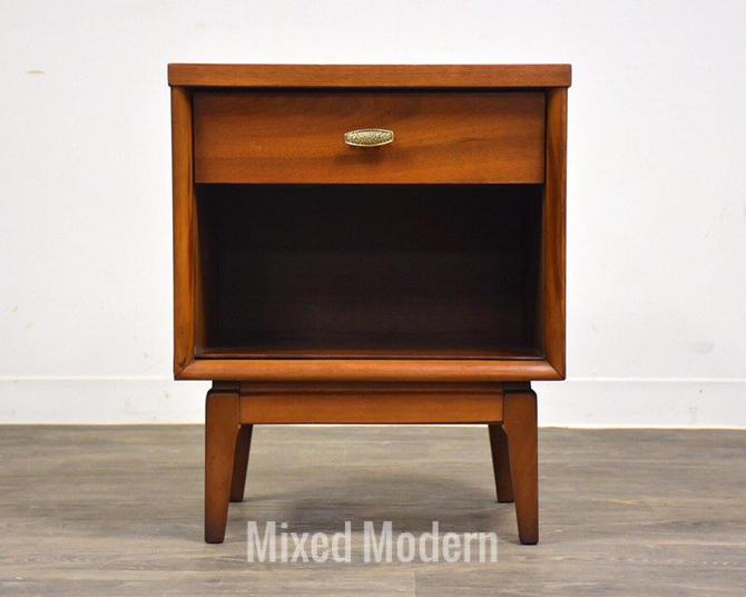 Walnut and Brass Mid Century Nightstand by mixedmodern1