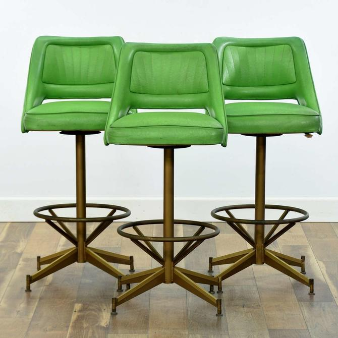 Set Of 3 Mid Century Space Age Lime Green Bar Stools