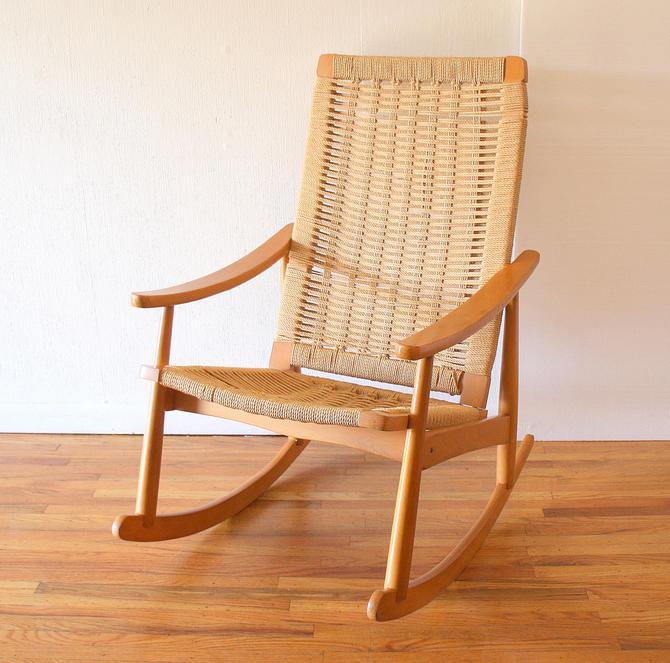 Mid Century Modern Woven Rocking Chair