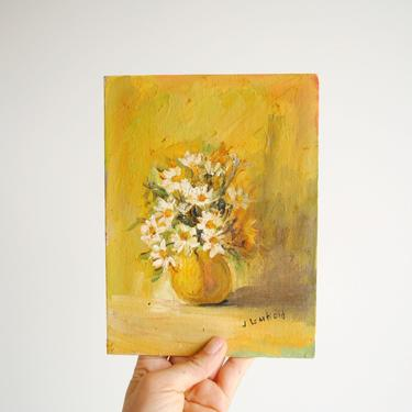 """Vintage Small Painting of White Daisy Flowers in a Yellow Vase, Still Life Flower Painting, Tiny Painting 8"""" x 6"""" by LittleDogVintage"""