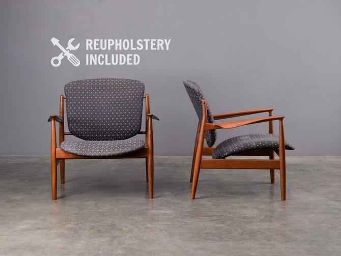 Pair of Finn Juhl FJ 136 Lounge Chairs France and Son Mid-Century Danish Modern Teak by MadsenModern