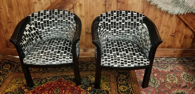 Hollywood Regency Interior Crafts Ebonized Barrel Back Chairs Newly Upholstered - Pair