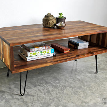 Walnut & Mixed Wood Console Style Coffee Table - Modern Furniture Mid Century Eames Hairpin Legs Recaimed Hardwood Design Shelf by portrhombus