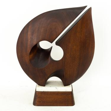 Abstract Mid Century Dark Walnut and Marble Tabletop Sculpture - mcm by ModernHill