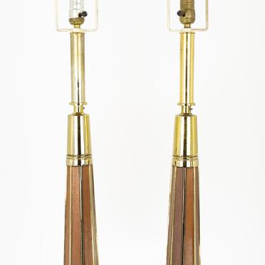 Laurel Lamp Company Mid Century Brass and Walnut Table Lamps - A Pair - mcm by ModernHill