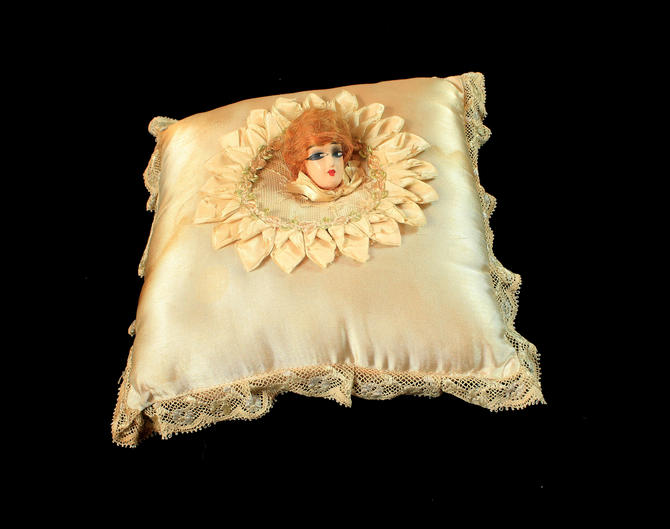 1920s Boudoir Pillow / 3D Wooden Painted Flapper Head with Real Hair / Satin Pillow by GuermantesVintage