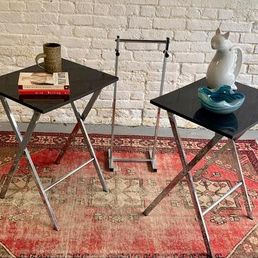 Mid Century MODERN Chrome Black Checkered FOLDING TABLES + Stand, Circa 1960's by CIRCA60