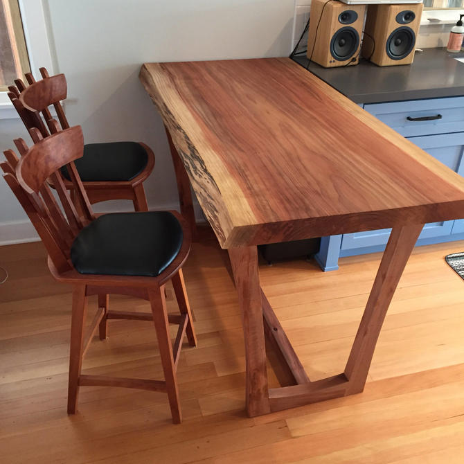 Redwood Kitchen Island Table with Kochlacs Wood Base by KirkpatrickDesigns