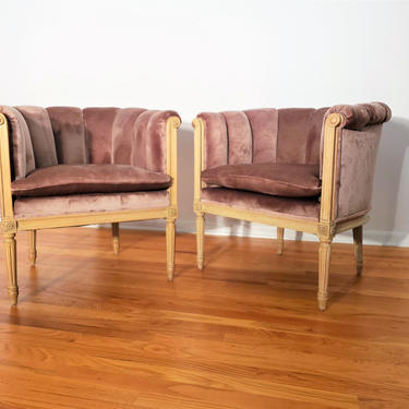 Vintage Pair of Channel Back Lounge Chairs by ProRefineFurnishings