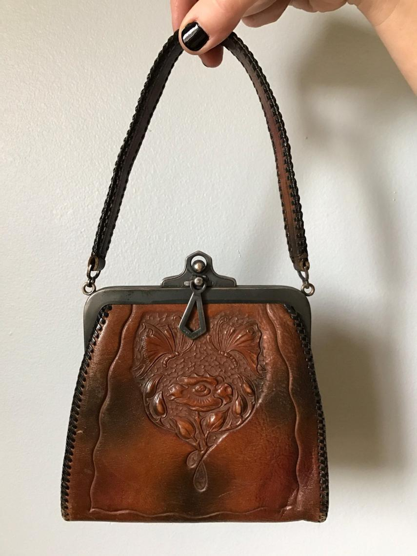 Antique 1900s leather purse | hand tooled leather bag by