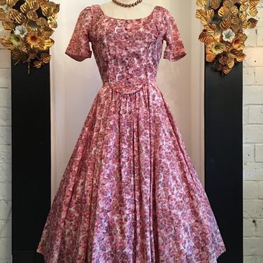 1950s floral dress, vintage 50s dress, pink rayon dress, size medium, junior theme dress, full skirt dress, mrs maisel style by melsvanity