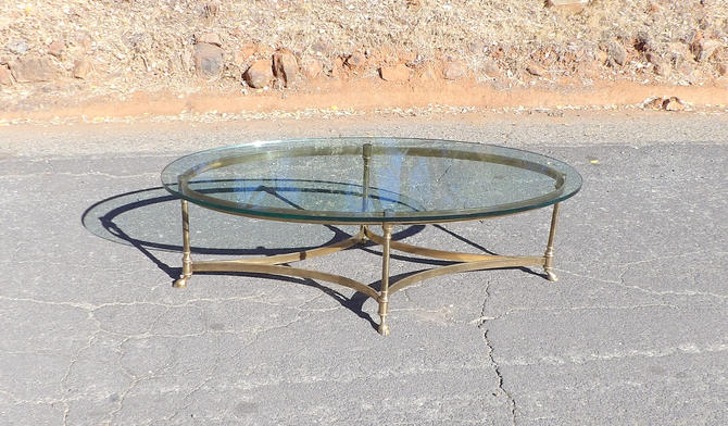 1960s Labarge Coffee Table Hollywood Regency Mid Century Modern Brass Glass Table End Table Maison Jensen Style Gold Metal Base Office by MakingMidCenturyMod