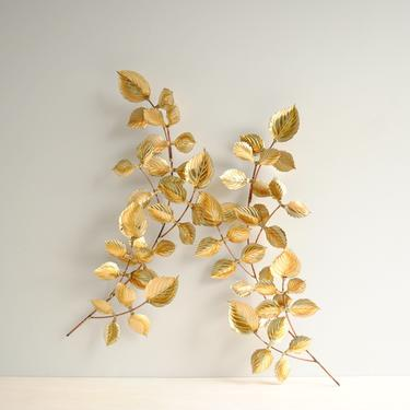 Pair of Vintage Brass and Copper Laurel Leaf Branch Wall Hangings, Cut Metal Leaf Wall Art by LittleDogVintage