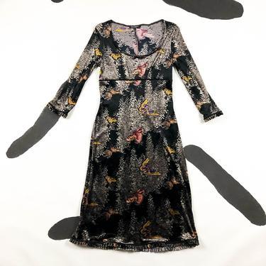 90s Betsey Johnson Velvet Moth Print Midi Dress / Butterflies / Bug Print / Velour / Stretch Velvet / Babydoll / Grunge / Scoop Neck / L / by shoptrashdotnet