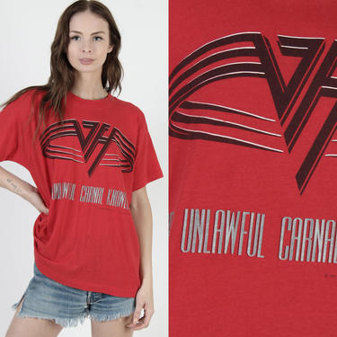 Van Halen Band T Shirt / 1991 For Unlawful Carnal Knowledge Tour Tee / Red 50 50 Single Stitch Rock T Shirt / Mens Womens Soft Metal Tee by americanarchive