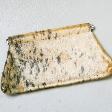 1960s Purse Fur Clutch Envelope Cowhide Bag by dejavintageboutique