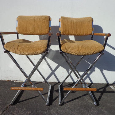 Set of 2 Bar Stools Chrome Wood Milo Baughman Mid Century Modern Seating Dining Chairs Counter Cantilevered Vintage Hollywood Regency Boho by DejaVuDecors