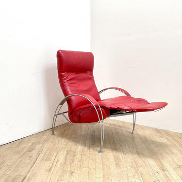 Postmodern Lafer Lounge Chair Recliner Red leather by 330Modern