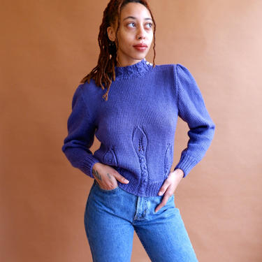 Vintage 80s Puff Sleeve Sweater/ 1980s Mock Neck Purple Cropped Sweater with Pleated Shoulders/ Size Small by bottleofbread