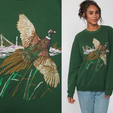 Bird Sweatshirt PHEASANT Shirt Jerzees Animal Shirt 80s Raglan Sleeve Wildlife Jumper Graphic Retro Pullover 90s Sweater Green Medium Large by ShopExile