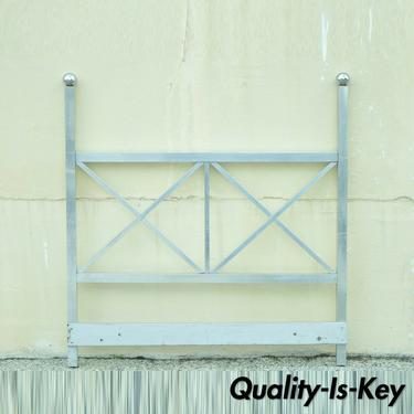 Mid Century Modern Aluminum Metal Queen Size Bed Headboard Finial Post X-Frame