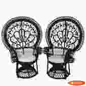 Pair of Peacock Flower Lacquered Chairs
