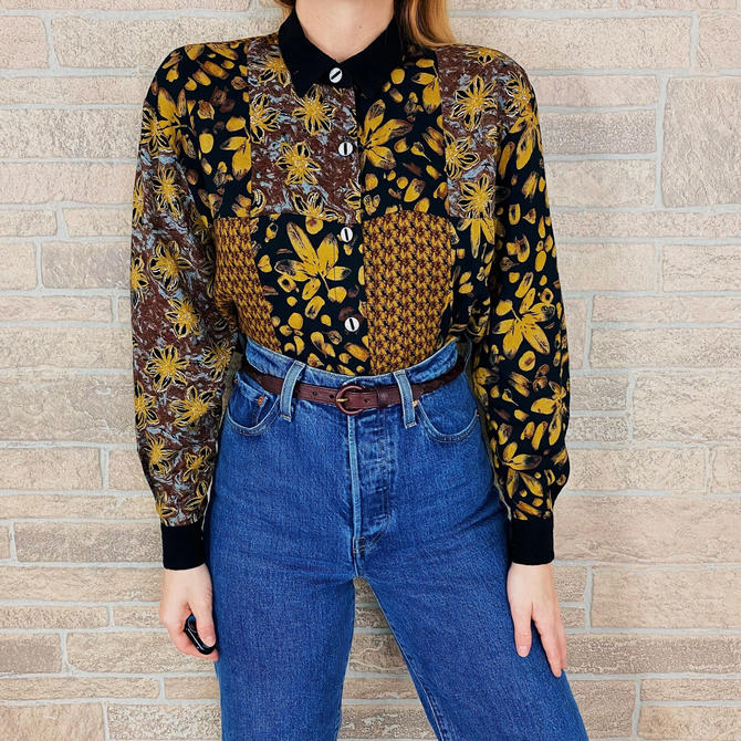 Mixed Pattern Patchwork Button Up Blouse by NoteworthyGarments
