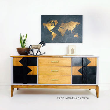 Mid Century Modern 9 Drawers Credenza. Vintage MCM Buffet Sideboard. Minimalist Dining Room Server. Modern Farmhouse Storage Cabinet. by withlovefurniture10