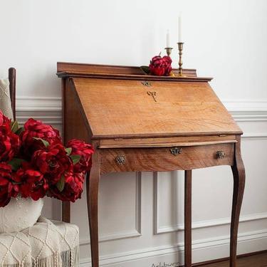 Antique Secretary, Tiger Oak, Ladies Writing Desk, Oak Desk by AminiDesignAshburn