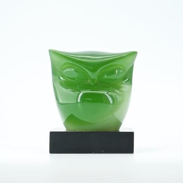 1960s Lucite Owl Sculpture Paperweight Italy Vintage Mid-Century Modern Abstract Minimalist by BrainWashington