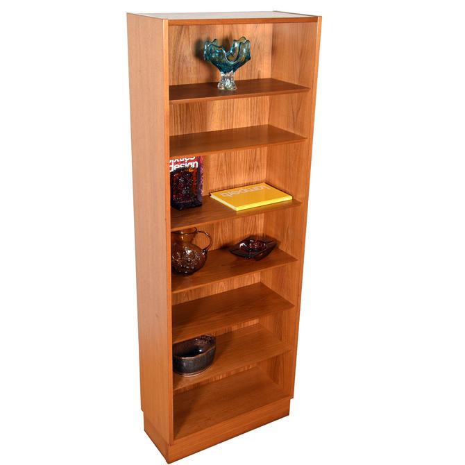 Slim Danish Teak Bookcase with Adjustable Shelves