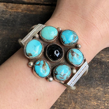 SOUTH By SOUTHWEST Vintage Silver and Turquoise Cuff   1960's JB Platero Hallmark Bracelet   Navajo Native American Jewelry, Southwest, Boho by lovestreetsf