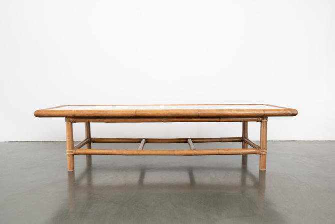 Bamboo and Marble Coffee Table by HomesteadSeattle