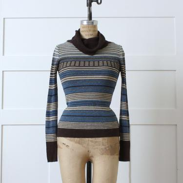 vintage 1970s knit cowl neck top • striped pullover sweater in browns & blues by LivingThreadsVintage