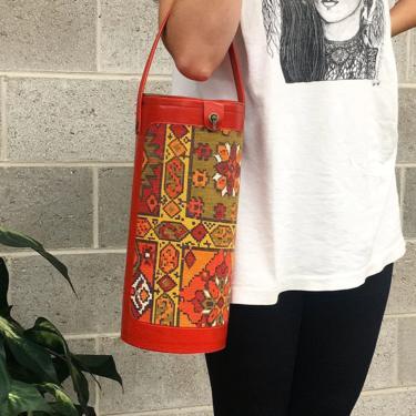 Vintage Wine Bag Retro 1970s Bohemian + Red Vinyl + Tapestry Fabric + Top Handle + Cylinder Shape + Bottle Carrier + Picnic Storage Travel by RetrospectVintage215