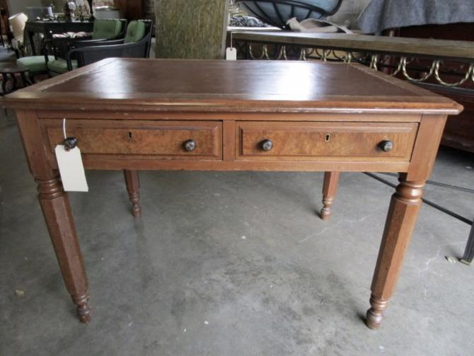 ANTIQUE TWO DRAWER DESK IN BURLED MAPLE WOOD