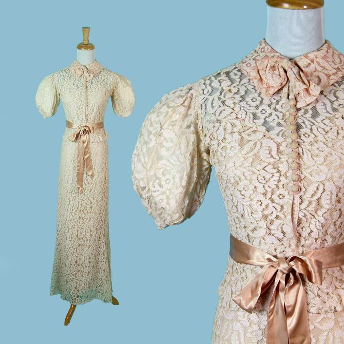 RARE Vintage 1930s Dress with Jacket, Pink Flower Lace Full Length Cap Sleeve Lawn Dress Art Deco Size S XS by WalkinVintage