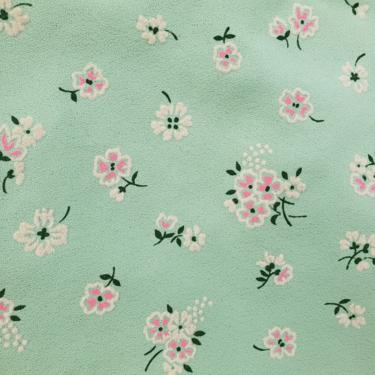 Vintage 1960's Floral Print Fabric / 70s Pink Floral Flocked Fabric by SilhouettetsyVintage