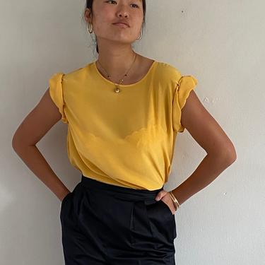 90s silk muscle tee blouse / vintage marigold yellow silk crepe box tee short sleeve crew neck pullover blouse tee   L XL by RecapVintageStudio
