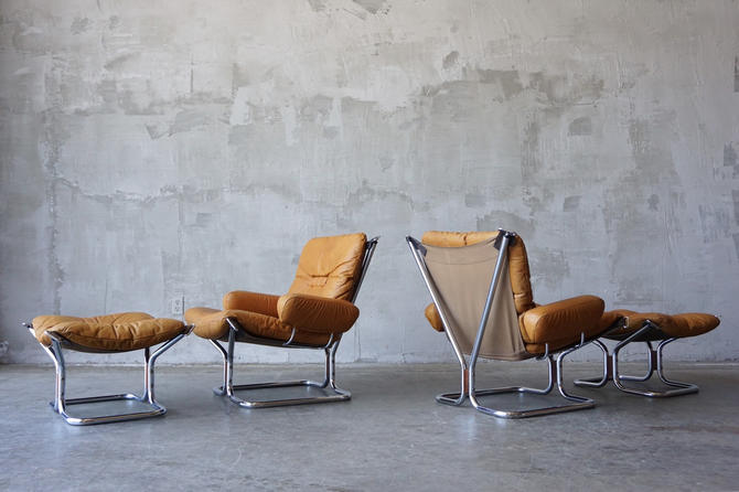 Pair of Ingmar Relling Leather 'Wing' Chairs by FandFVintage